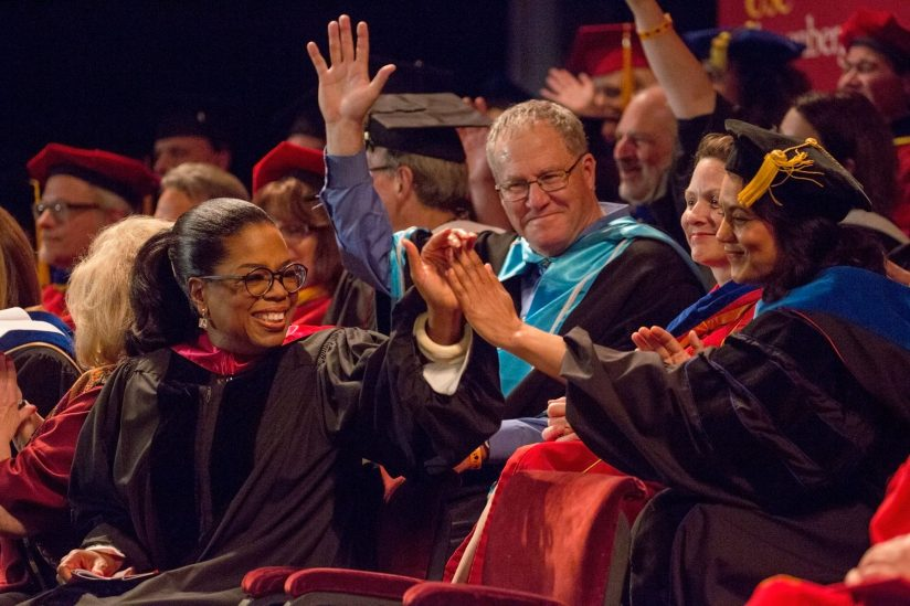 Longtime talk show host and philanthropist Oprah Winfrey celebrates in May with graduates at the University of Southern California in Los Angeles. She stressed truth and integrity during her commencement speech.