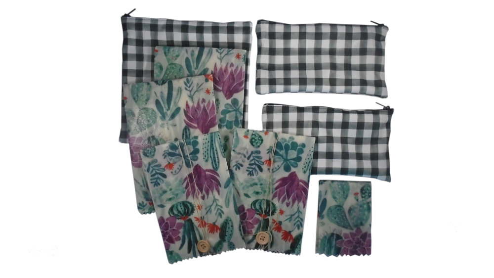 All in One Sets - The perfect solution for your food storage needs! These sets include beeswax wraps AND reusable bags