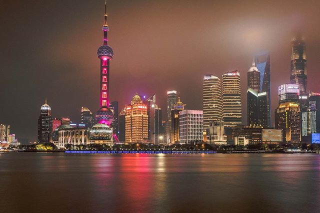 Shanghai is massive and BEAUTIFUL at night. 😍  Still makes me miss NYC skyline though. 😢