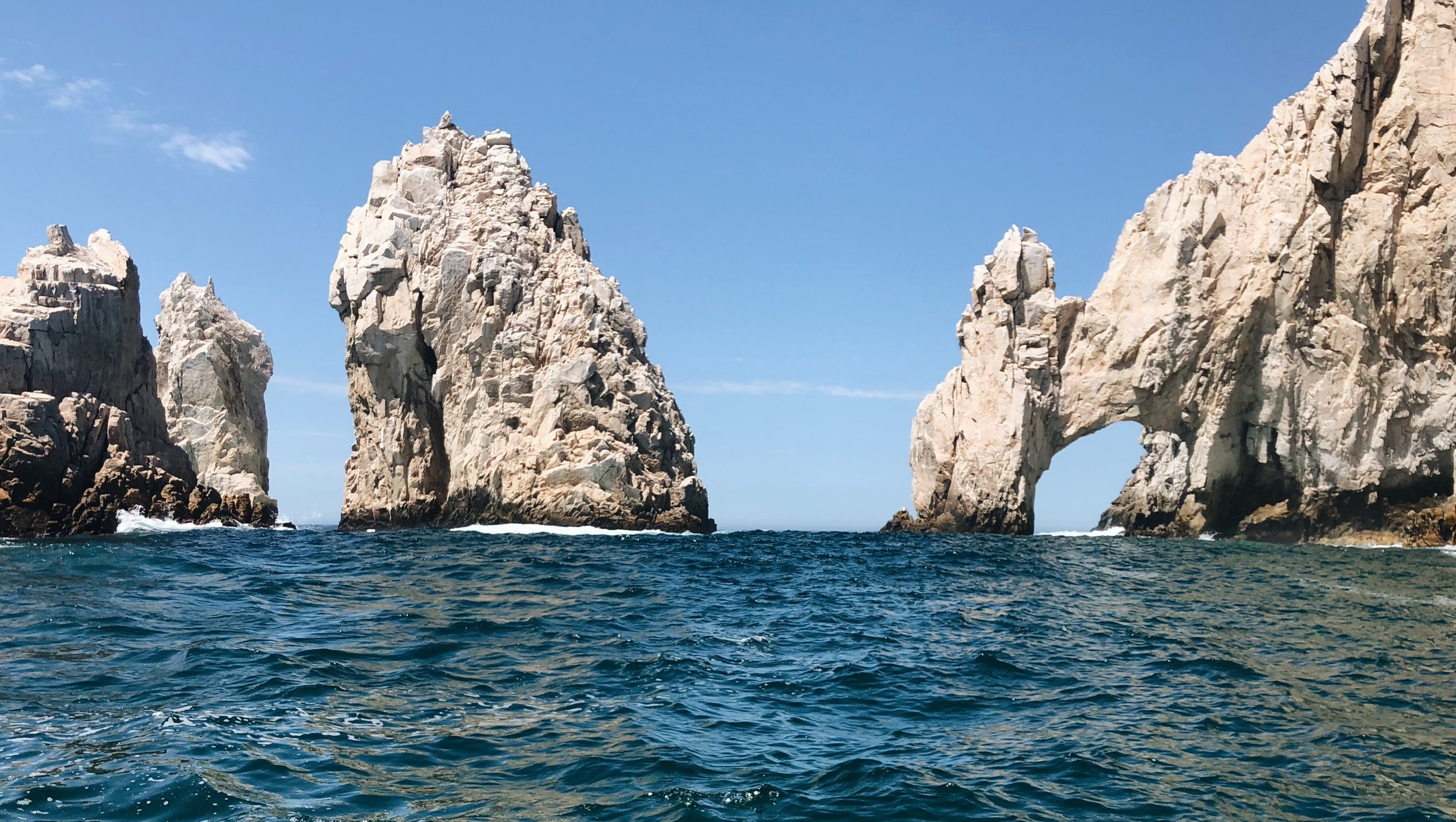 View of the ocean and beach in Cabo San Lucas, Mexico.