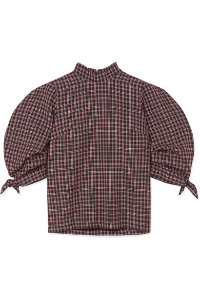 Paper London - Rose Checked Wool-Blend Top