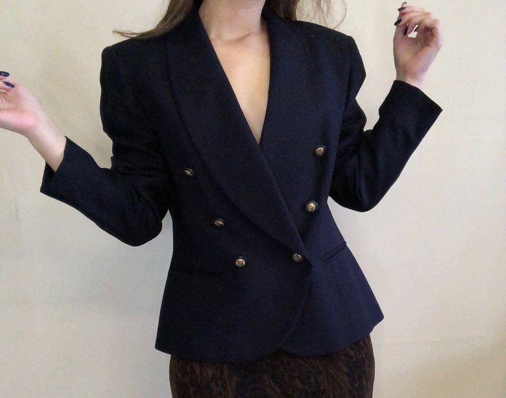 Vintage Oxford Blue Double Breasted Blazer -