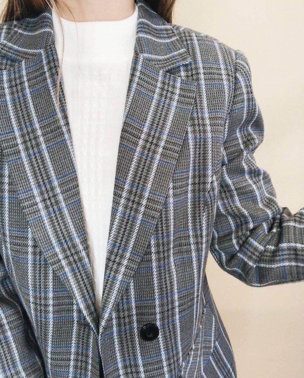 Vintage Sky Blue & Grey blazer -