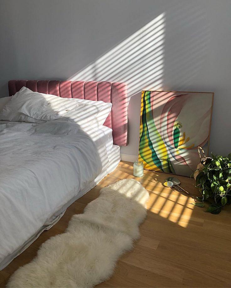bedroom | home decor | house decoration | pink velvet headboard | artwork | modern.jpg