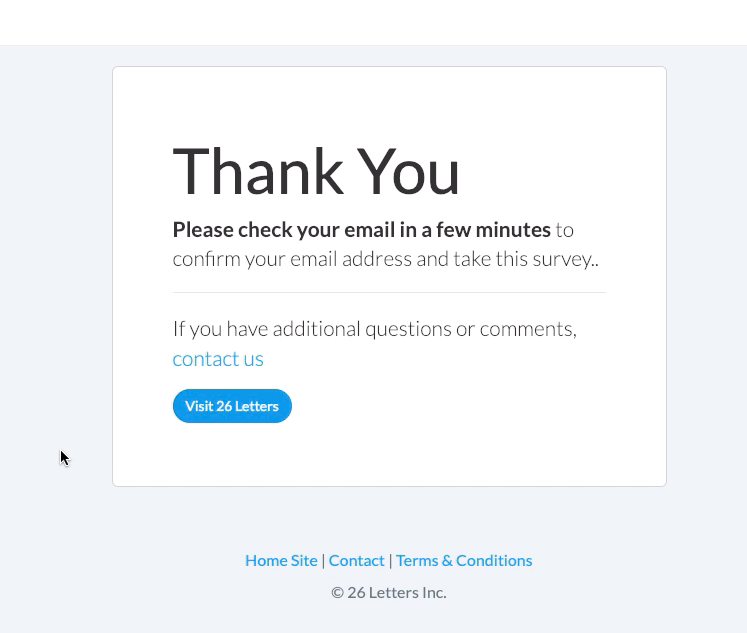 3) After filling out the form, you will get a thank you page.
