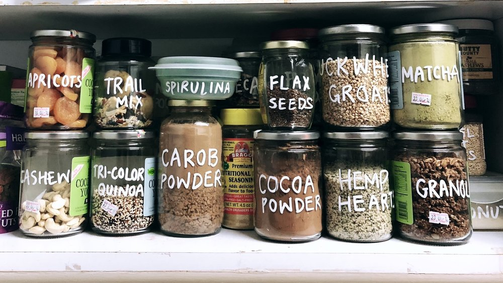 My (nearly) zero waste pantry! (notice how everything can now fit into one shelf)