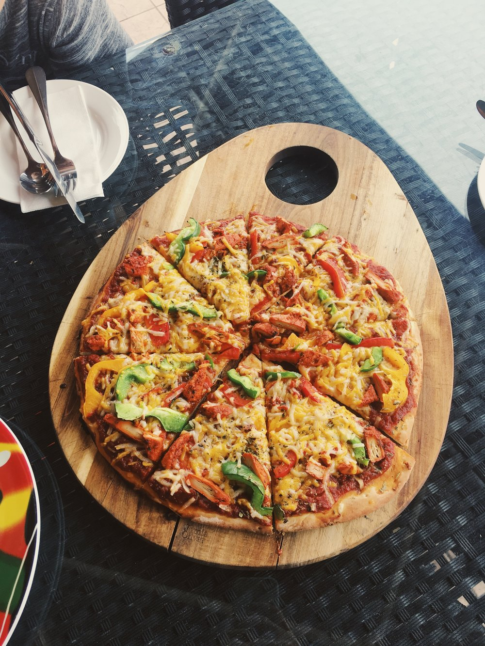 Chick'n Tikka Pizza - this photo is now published on Hemingway's menu!