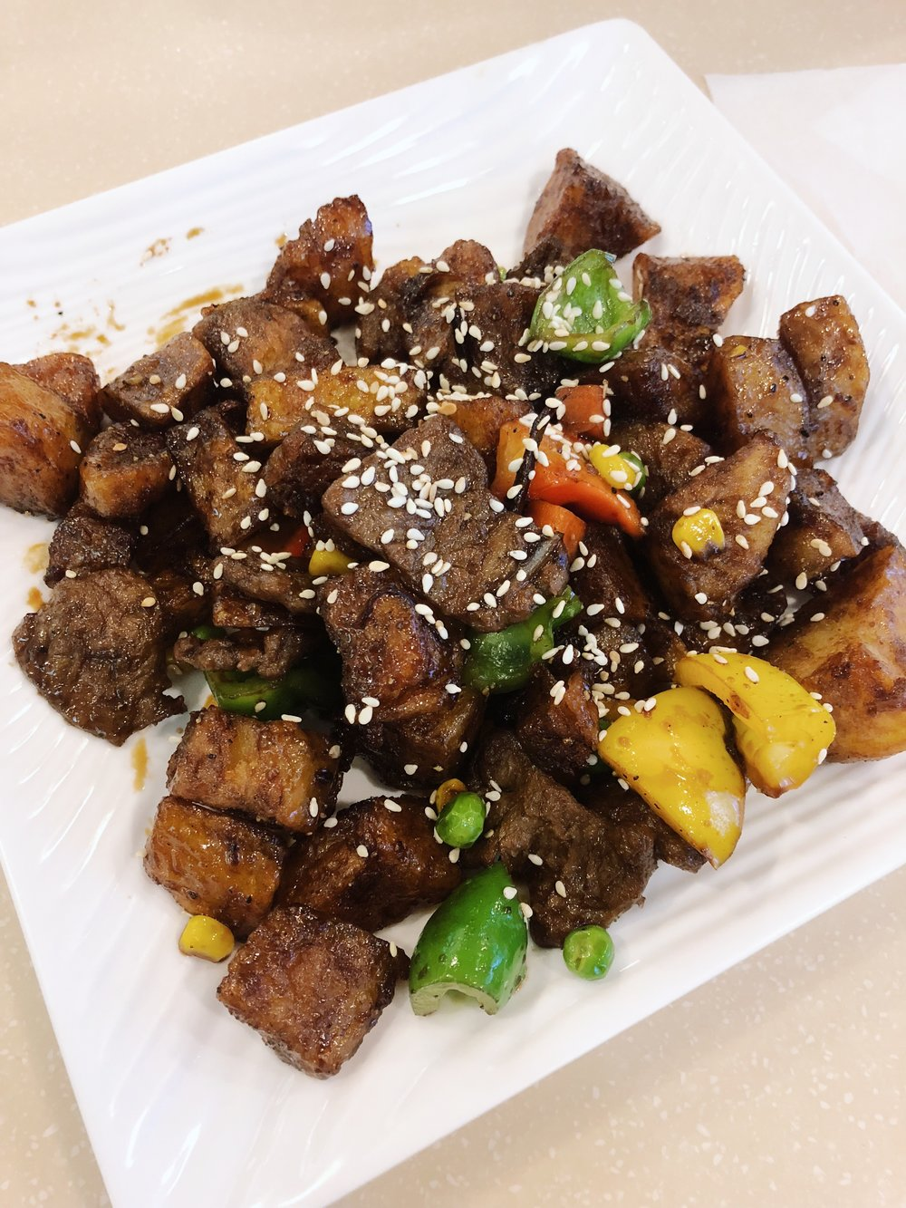 Fried Pepper 'Beef' from Loving Hut
