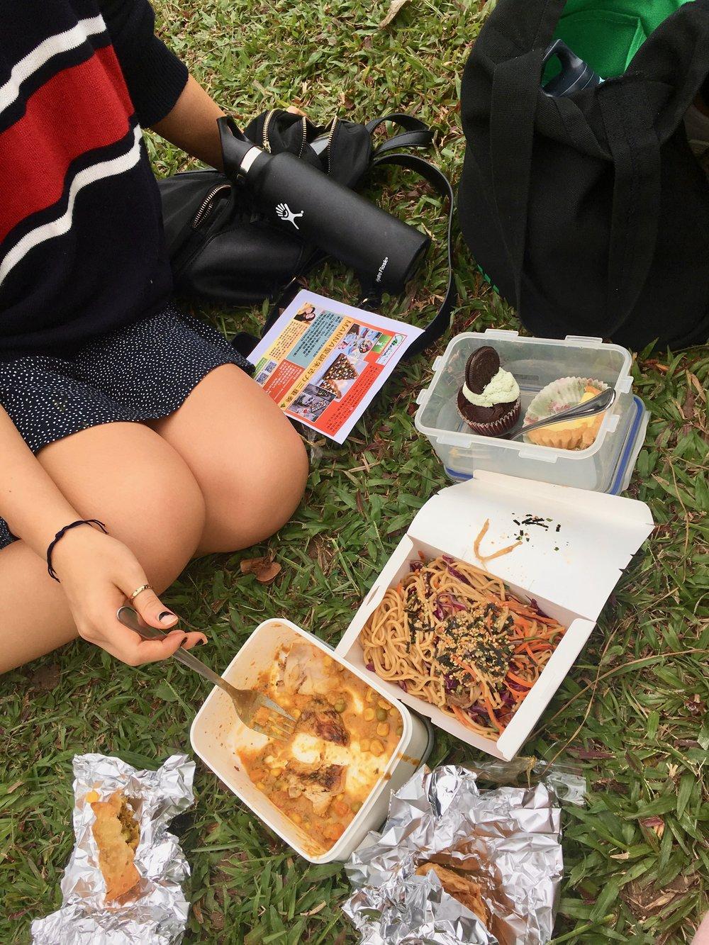 Samosas, naan and curry from Khana Khazana, and noodles from Loving Hut