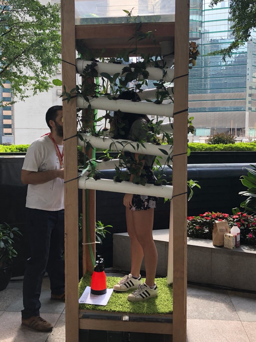 Standing inside the Hydroponic installation at Green Fest