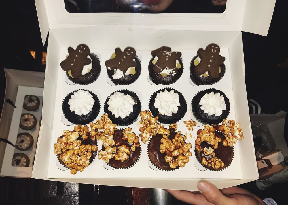 Top to Bottom: X-mas Edition Gingerbread Man Cupcake, Day Dreamer (Chocolate), and Salted Caramel Popcorn