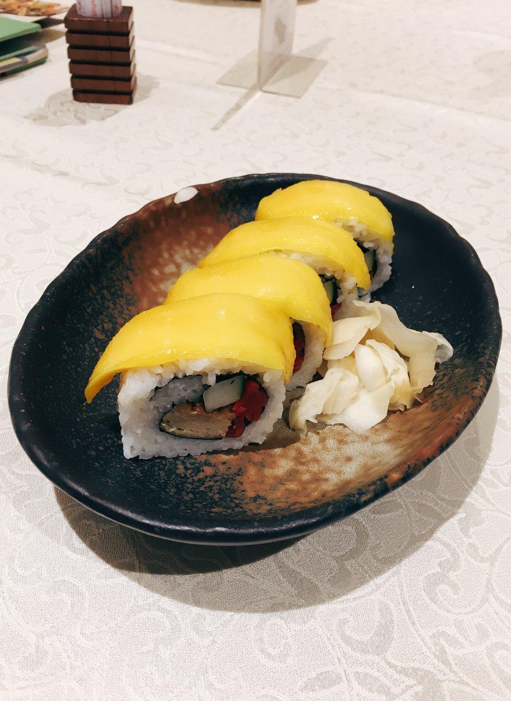 Mango + 'pork' sushi