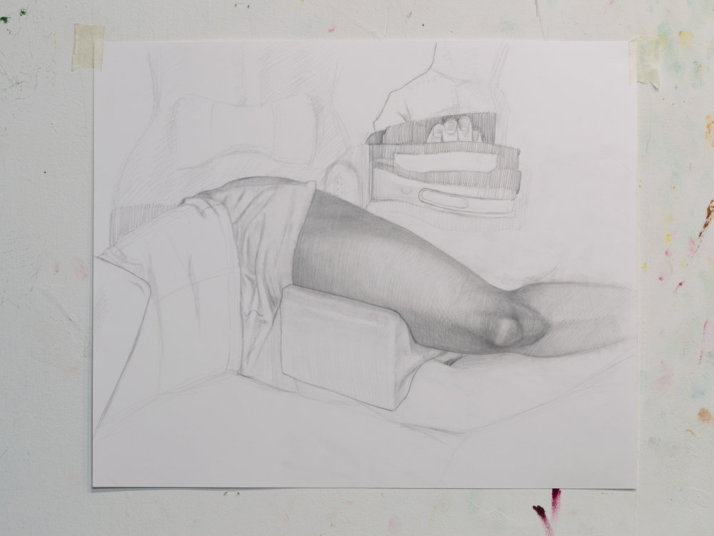 Woman Reclining, pencil on paper 2017
