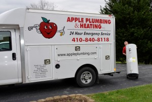 Apple Plumbing delivers a water heater