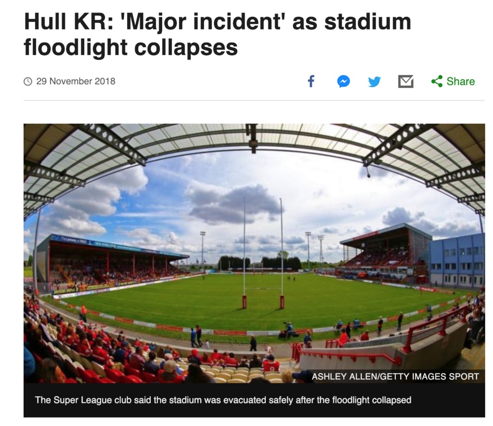 The BBC reported on Hull KR's crisis management and safe evacuation of the stadium