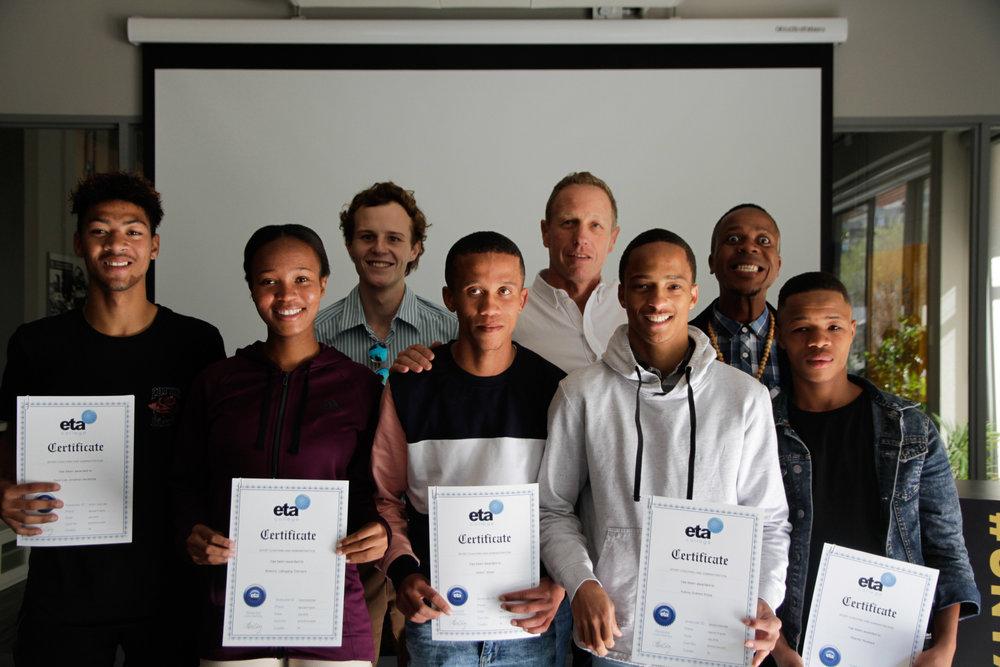 The graduates with eta Director Paul Laemmle
