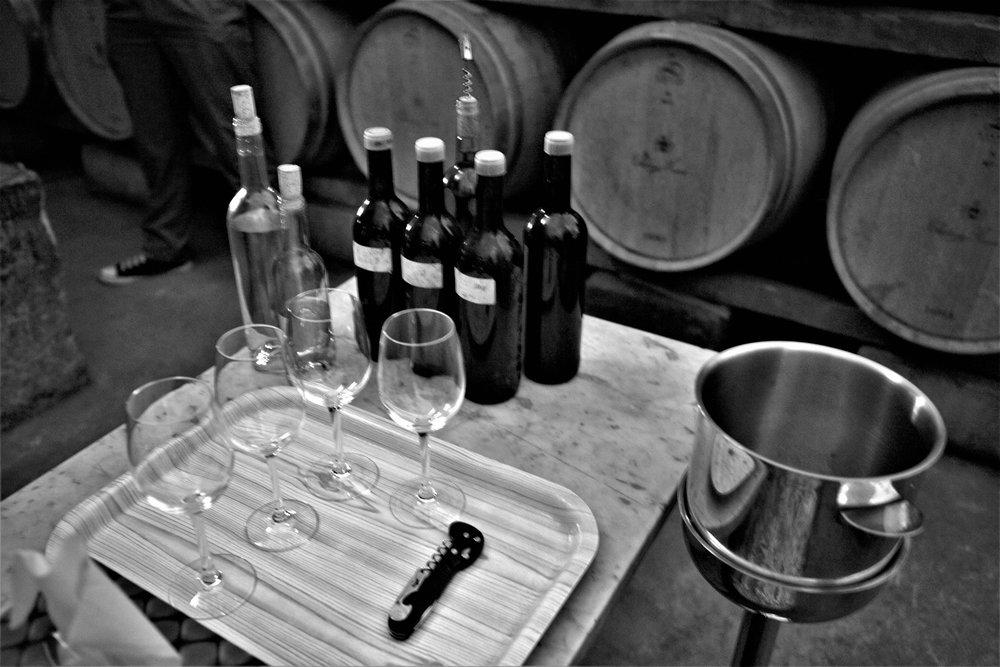Tasting von verschiedenen Grundweinen welche später assembliert werden. (Chateau Musar).
