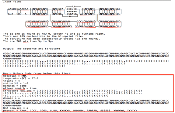 Figure 10  The text file after running it through the trace script. The red box highlights the output code that can be submitted to NUPACK, which then provides the RNA sequence.