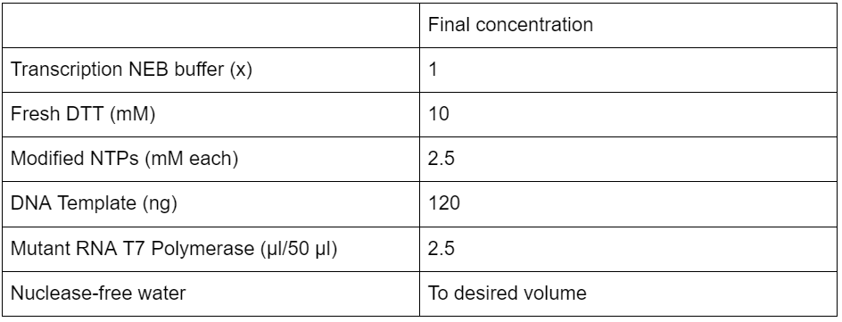 Table 3  Fluoro-Modified Transcription contents and concentrations.
