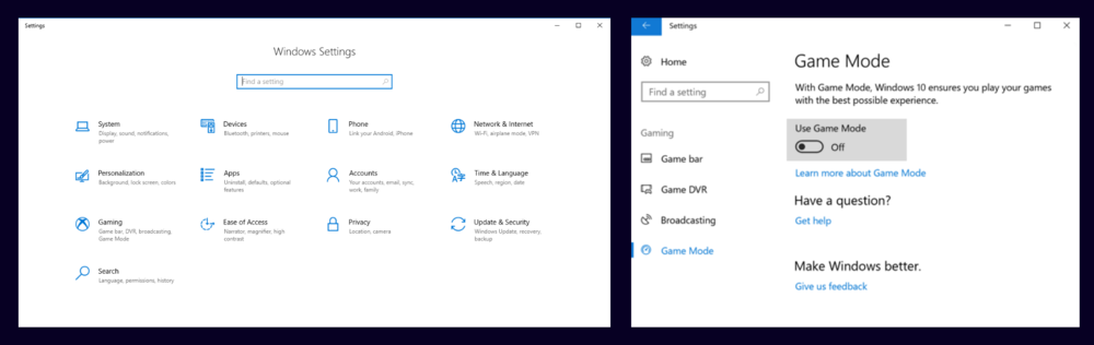 """Disable """"Game mode"""" if you are using Windows 10"""