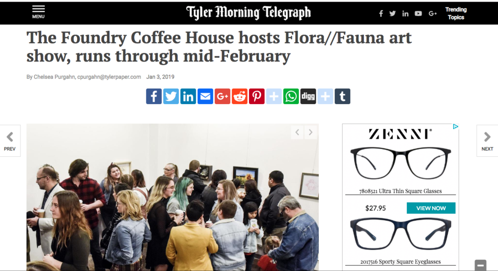 FLORA//FAUNA Makes Front Page News! - Thank you Tyler Morning Telegraph for this wonderful article. It was a pleasure to create and curate this show.