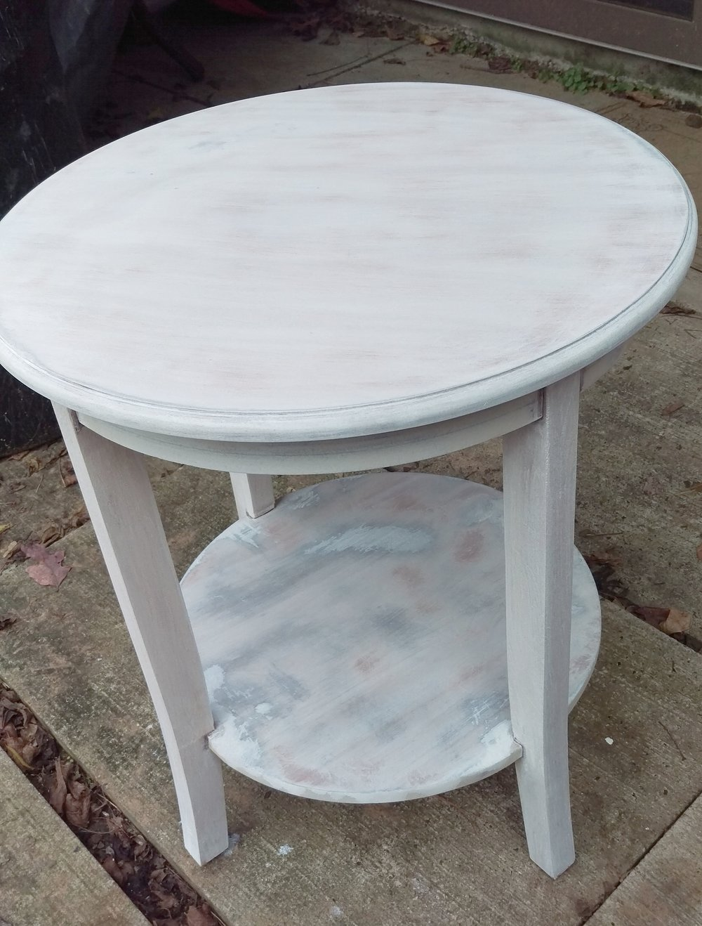 The table after the first coat of whitewash