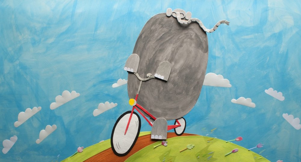 France, 2013 (no dialogue) 9 min.   Director: Olesya Shchukina  An elephant lives in a town among people and works as a street cleaner. One day he sees a big billboard advertising a bicycle which seems to be perfectly his size…