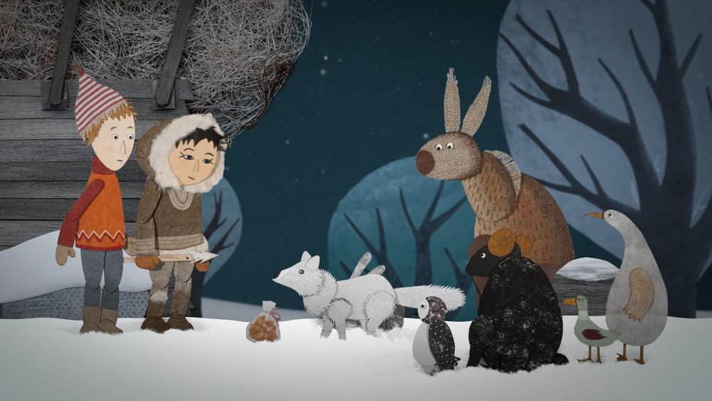 France, 2015 (French/Inuktitut with English subtitles) 26 min.   Directors: Antoine Lanciaux and Sophie Roze  Classification: tba / Ages: 4+  Just before the summer holiday the small town where Siméon's family lives is hit by an incredible snowstorm. It's like the Artic… and by the way, an Inuit family has settled on a roundabout!