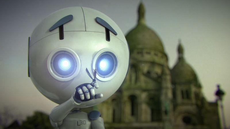 """France, 2014, No dialogue, 5 min.  Directors: Vincent Defour, Cyril Declerq, Alexis Decelles, Pierre Jury  In derelict and empty Paris, Leo, a Hi-Tech """"pet"""" robot spends his day folding sheets of paper in the likeness of the live creatures he meets."""