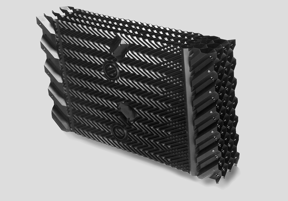 PVC CROSSFLOW FILL MEDIA WITH INTEGRATED LOUVERS AND DRIFT ELIMINATORS