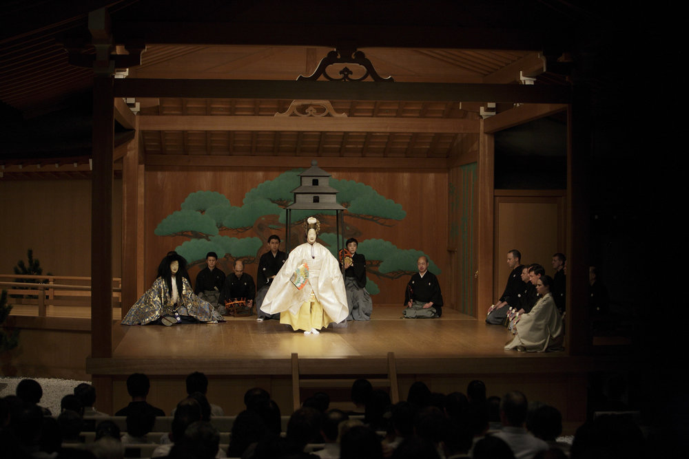 The last scene from Pagoda performed at the National Noh Theatre, Tokyo. Photography by Sohta Kitazawa