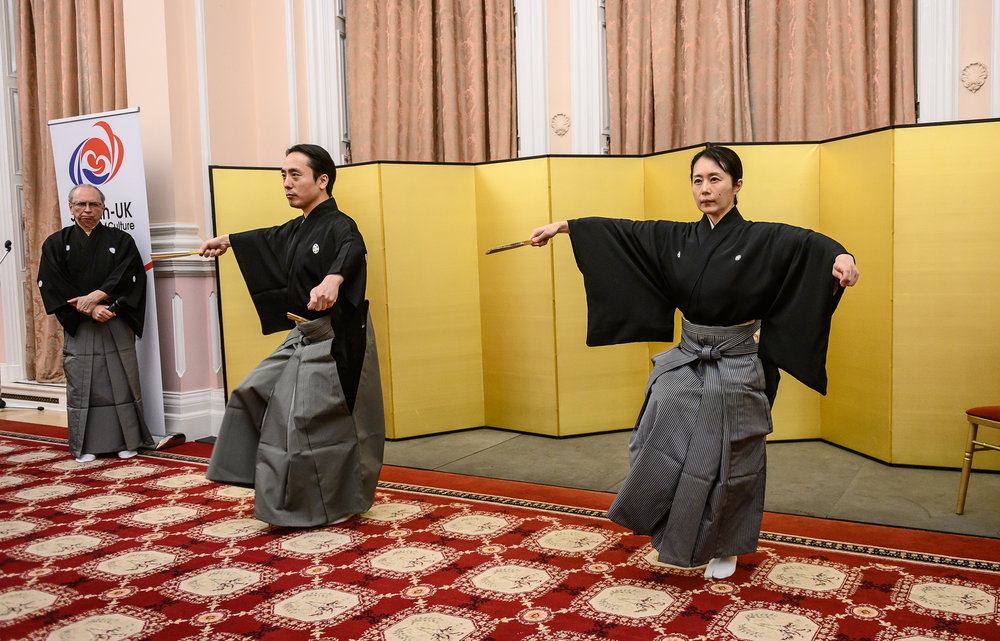 Teruhisa & Kinue Oshima and Richard Emmert - Performance presentation at the Embassy of Japan London. 6 February 2019. Photograph by Clive Barda