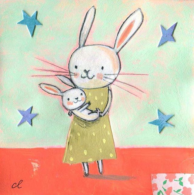 Bunny snuggles post it note * * * * * #postitshow14 #bunniesofinstagram #artistsoninstagram #cute #illustration #childrensbooks #chrislylesdesigns #collage