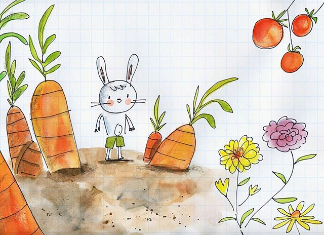 A quick little bunny sketch in honor of spring. Who doesn't love gigantic carrots? #spring #illustration #kidslit #artistsoninstagram #illustrator #painting