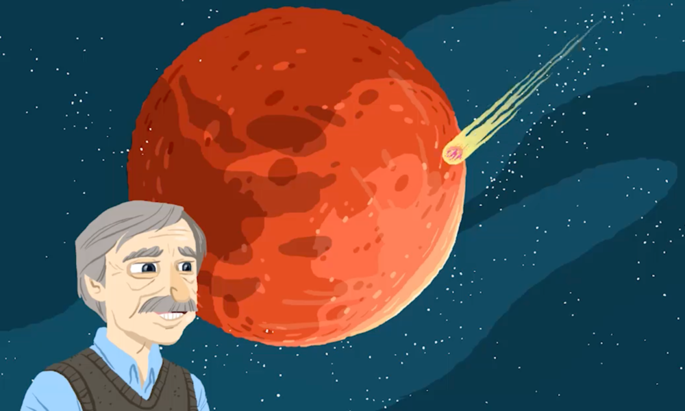 Illustration of old man superimposed on an illustration of mars with stars in the background and a meteor is about to crash on the surface