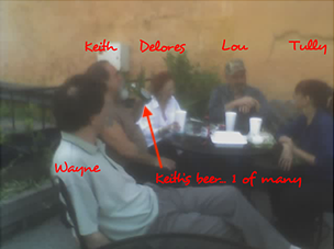 "A family reunion of sorts, outside of Frank's Pizza in 2006, where the beer was flowing freely; ""Wayne"", ""Keith"", ""Delores"", ""Lou"" & ""Tully"". -"