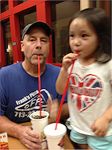 Eddie (Papa Ed) with granddaughter London; his willing accomplice in silliness. -