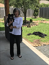 Debbie and the dogs (Sonny, Sally & Sammy) in 2018 relaxing in the backyard. -