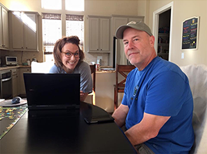 Christina & Eddie, at Christina's, early in the book writing process. -