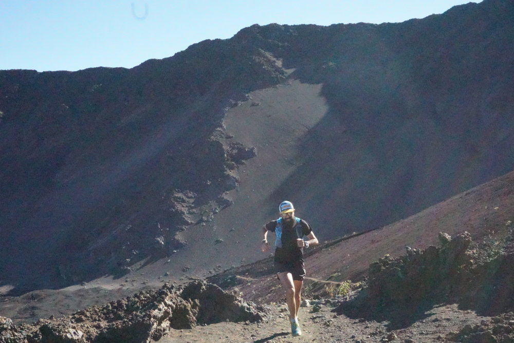 Running in the crater at Haleakala
