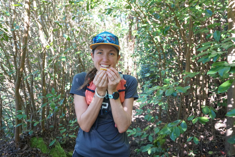 Snacking on wild guava on Mahana Ridge Trail