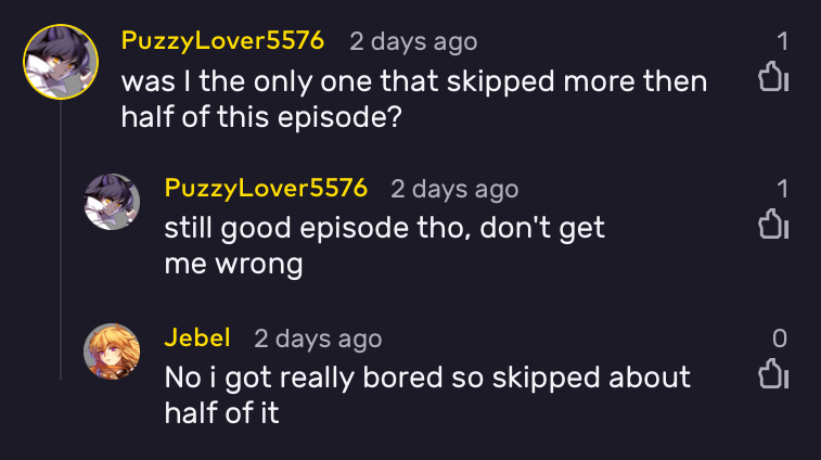 Screenshot taken from the VRV comments section.
