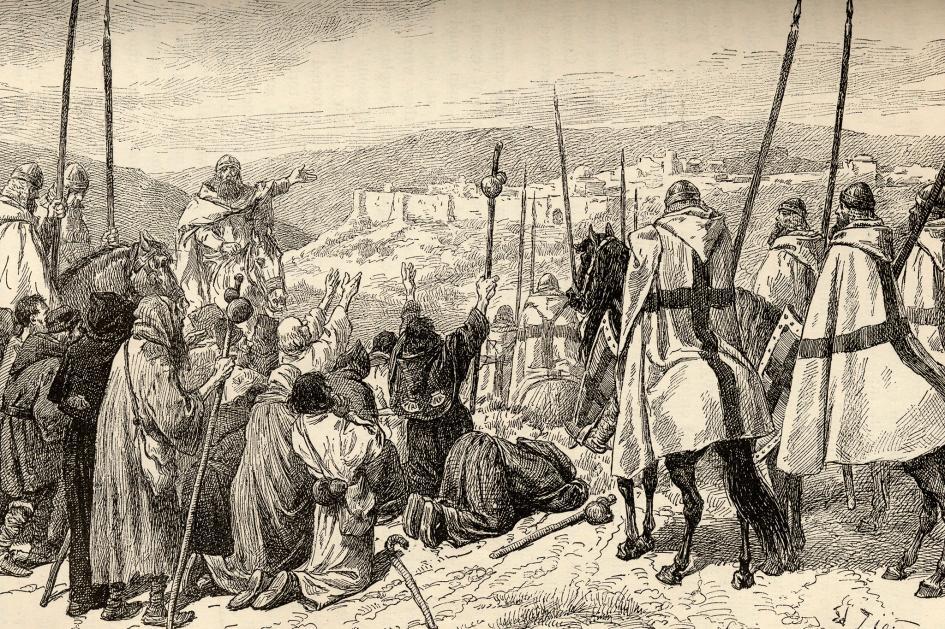 Knights Templar Escort Pilgrims to Jerusalem.jpg