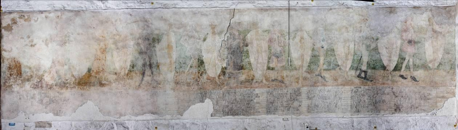 The Mural as it stands today and below two restorations