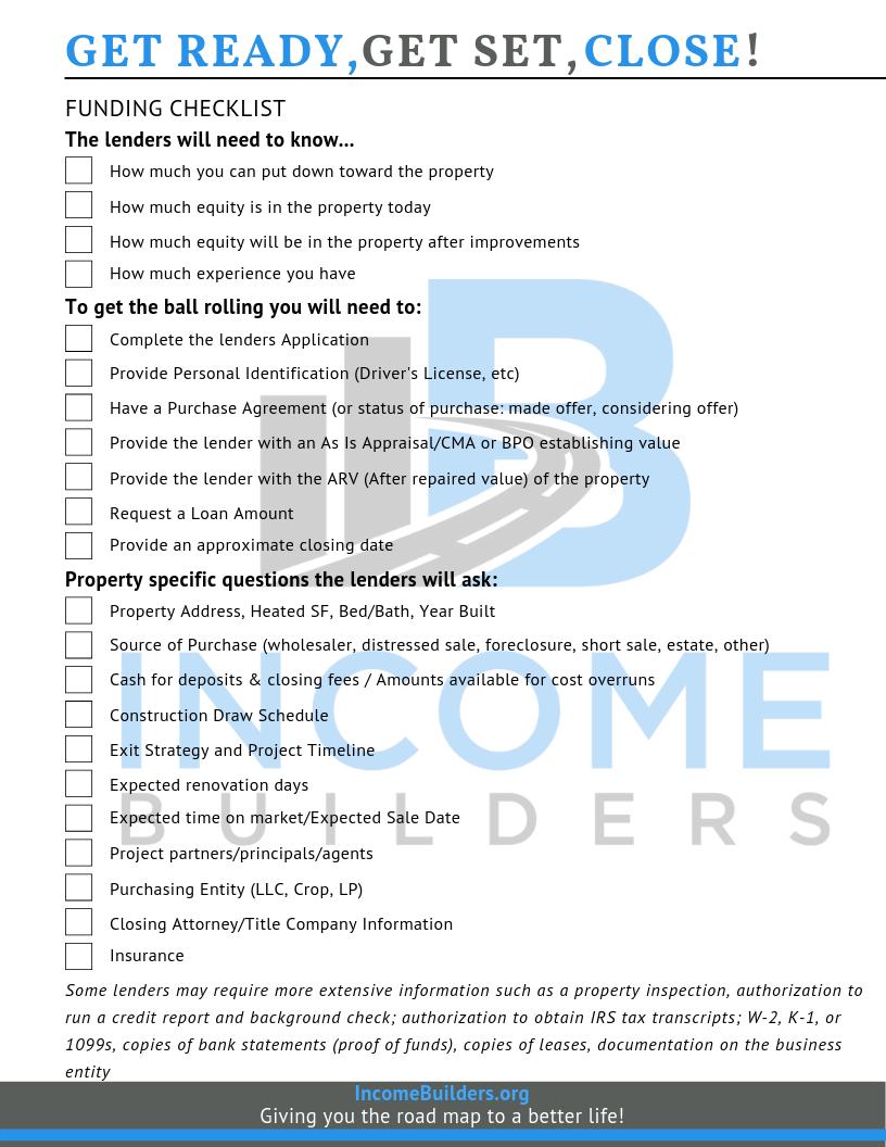 Funding Checklist