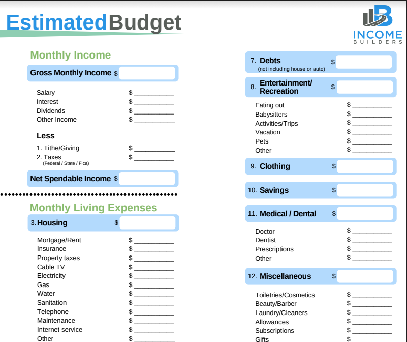 Estimated Budget Worksheet - Get into the details of your monthly budget - monthly income, monthly living expenses, and your total monthly savings.
