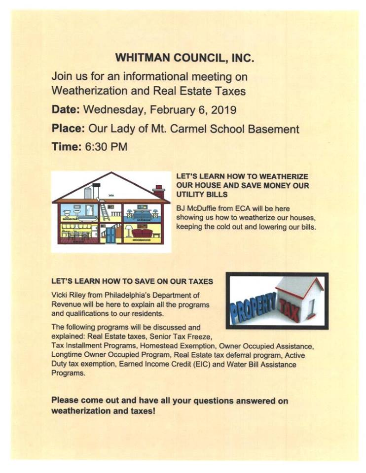 Informational Meeting: Weatherization and Real Estate Taxes