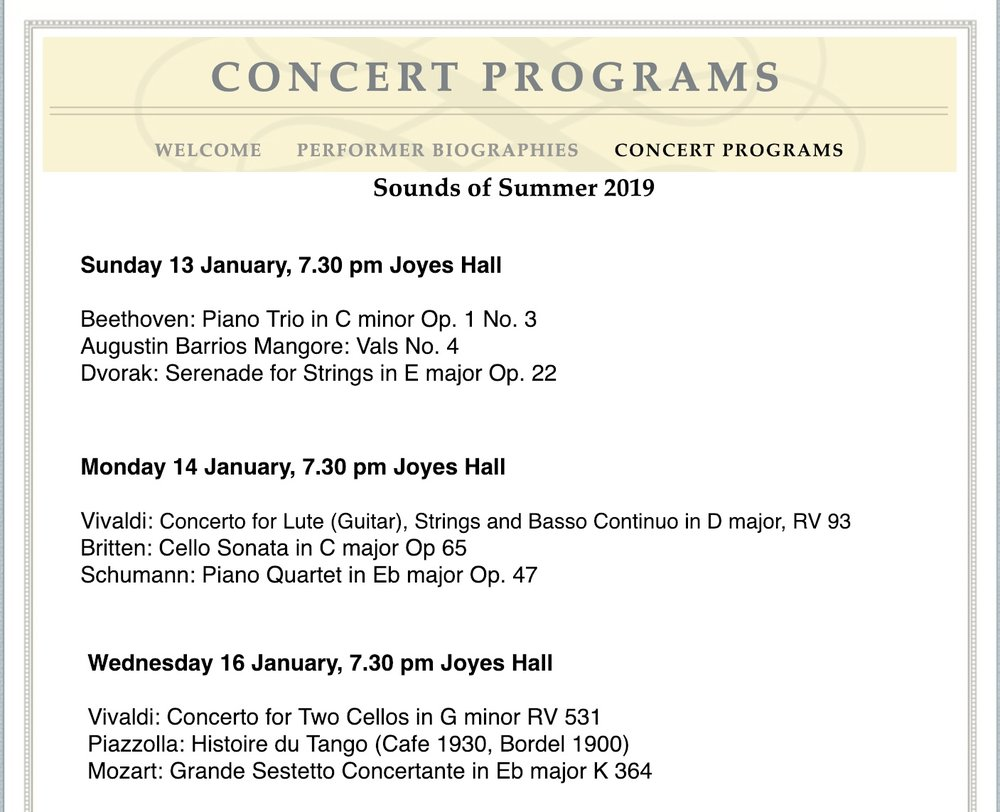 Wagga String Academy Concerts - I will be performing Britten's Cello Sonata with Caroline Almonte on piano on Monday 14th, 19:30, Joyes Halland Vivaldi's Double Cello Concerto in g minor with Caleb Wong on Wednesday 16th, 19:30, Joyes Hall$25 Tickets available at the door