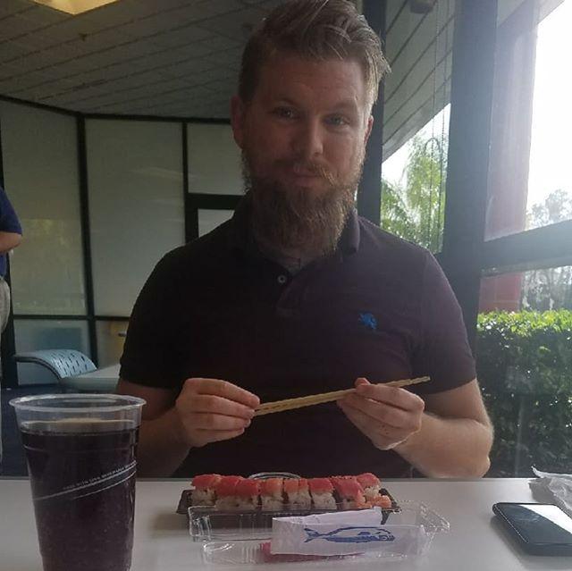 Sushi at work? Hell yeah.  #masterfulbeard #sushi #beard #beardcare #beardoil #beardbalm #epicbeard #smelllikeaprofessional