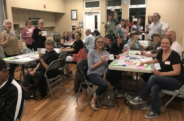 30 Sister District CA Peninsula members wrote 400 postcards during our August 27, 2018 Postcard Party.